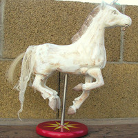 Primitive Shabby Chic Carnival Carousel Unicorn Horse on Stand Faux Wood Carving Sculpture Statue