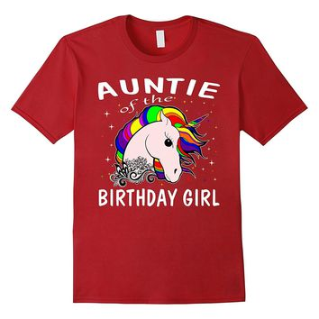 Auntie Of The Birthday Girl Unicorn T-Shirt Gifts For Aunt