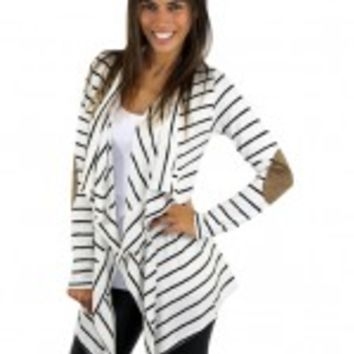 Ivory Striped Cardigan With Elbow Patches