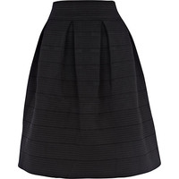 River Island Womens Black rib box pleat midi skirt