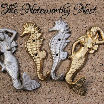 Cast iron mermaid hook // Cast iron seahorse hook // bathroom decor // nautical decor // cast iron hook // beach decor