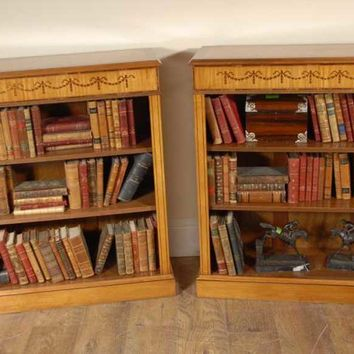 Canonbury - Pair Satinwood Regency Low Open Bookcases Open Front