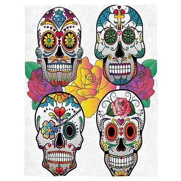 Four Colorful Skulls Throw Warm Microfiber Blanket