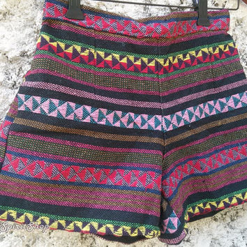 High Waist Shorts Tribal Boho Woven Ikat Aztec Print Stripes Hippies Clothing Ethnic Bohemian Hobo Unique Women Clothes Beach Summer