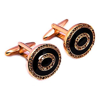 Vintage 1.3cm Men's Golden Czech Diamond Cufflink(1 Pair)