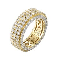 14k Gold Finish 3 Row Band Iced Out Men's Sterling Silver Band