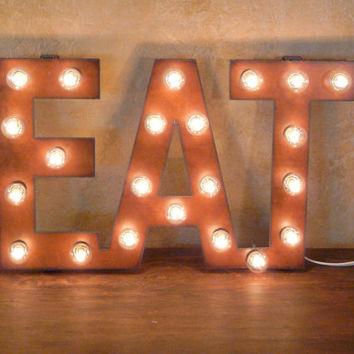 EAT Sign Lighted Marquee Restaurant Pub Sign made of Rusted Recycled Metal Vintage Inspired