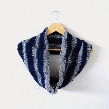 harry potter scarf -- hand knit striped hogwarts ravenclaw cowl neckwarmer