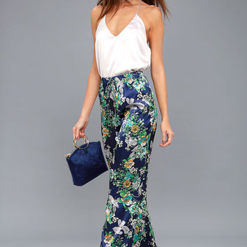 I Got You Babe Navy Blue Floral Print Satin Wide-Leg Pants