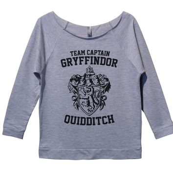 Harry Potter Gryffindor Womens 3/4 Long Sleeve Vintage Raw Edge Shirt