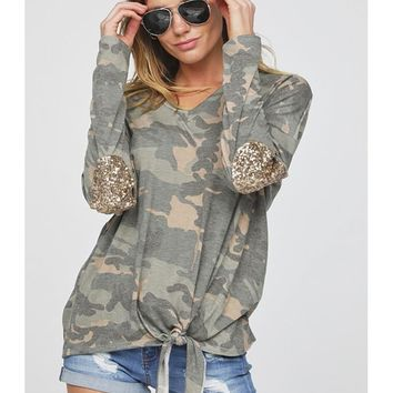 V-Neck Tied Front Camouflage Jersey Top