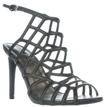 G by GUESS Berrit Honeycomb Caged Sandals, Black, 9 US
