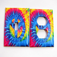 Light Switch Cover Set - Light Switch Plate Tie Dye Peace