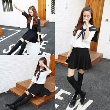 Japanese School Uniforms Short-sleeved T-Shirts For Sexy Girls New Arrival College Class Sailor Suit Sets Female Summer Clothing