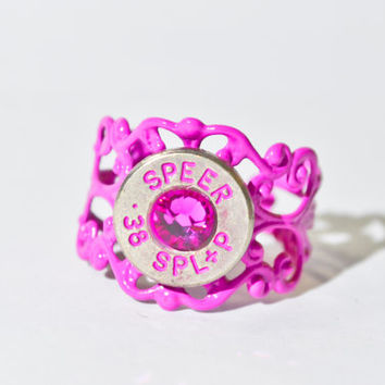 Bullet Ring - Pretty in Hot Pink Filigree Bullet Ring