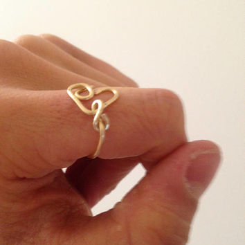 Heart Treble Clef Gold Color Brass Plated Wire Tarnish Proof Ring, Heart Ring, Gold Ring, Ring, Gold Wire Ring, Wire Ring, Gold Heart Ring