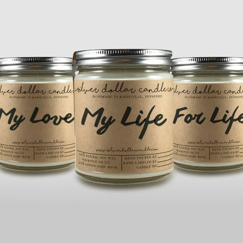 Set of 3 Romantic Candles, Personalized girlfriend gift, couples gift, cute candle, scented candles, boyfriend gift, wife gift, gift for her