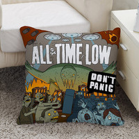 All Time Low Dont Panic All Time Low To Live And Let Go Lyrics Square Pillow Case Custom Zippered Pillow Case one side and two side
