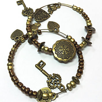 Bronze Adjustable Memory Wire Bracelet - Beaded Bangle Bracelet  - Adjustable Charm Bracelet - 2 Bangle Bracelets - Memory Bangle TDC511