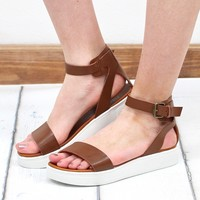 MIA: Ellen Ankle Strap Sneaker Sole Sandals {Tan}