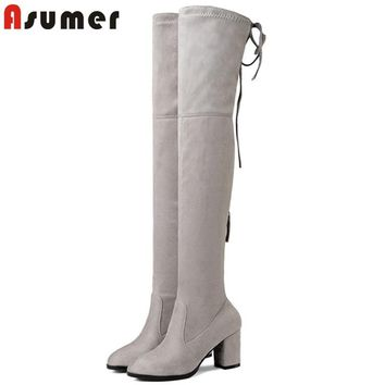 ASUMER 2018 Over The Knee Round Toe Boots Thigh High Elastic Keep warm Boots Flock Prom High Heelsboots elegant Big Size 34-43