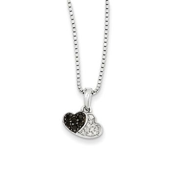 Black & White Diamond Tiny Double Heart Necklace in Sterling Silver