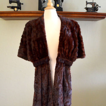 Sumptuous Vintage Fur Stole, Rich Reddish Brown Fur Shawl, Green's Furs, Likely Mink, circa 1950s
