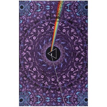 Handmade Cotton 3D Pink Floyd Dark Side of Moon Tapestry Tablecloth Throw Dorm Decor Bedspread 60x90 Purple