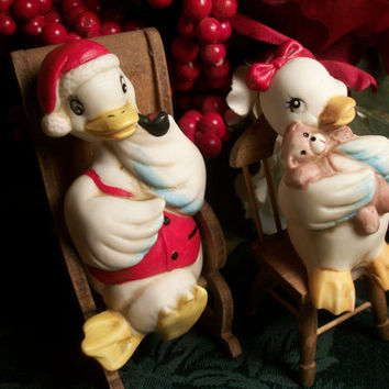 White Porcelain Ducks in Wooden Chairs Boy Girl Farm Animals Figurines Vintage 1950's Christmas Holiday Decor Tree Ornaments