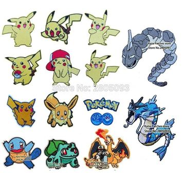 lets go Pikachu Eevee Iron On Embroidered Patch, Movie Game Fabric Patch, Kids Jacket Backpack Clothing Accessories DIYKawaii Pokemon go  AT_89_9