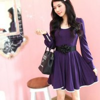 Elegant U Neck Long Sleeve Ladies Dresses Purple : Wholesaleclothing4u.com