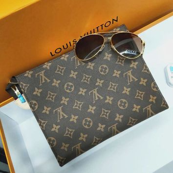 LV Louis Vuitton Women Makeup Bags Men's Handbag Business Bag Classic Clutch Bag