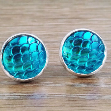 Mermaid Scales- ab Aqua mermaid/ dragon scale earrings