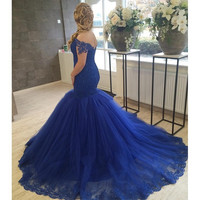 Elegant Navy Blue Mermaid Prom Dress 2017 Charming Woman Sweetheart Appliqued Tulle Formal Evening Party Gowns