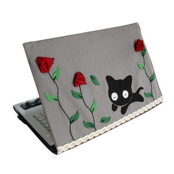 [Happy Cat] Handmade Laptop Sleeve Customized Canvas Notebook Case