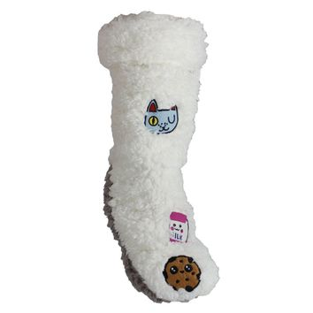 Fluffy Cell Phone Pocket Slipper Socks with Patches