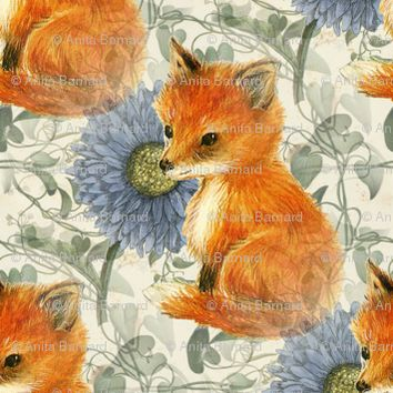 Baby Fox Blue flowers and Vines - 13moons_design - Spoonflower
