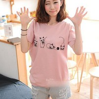 Kawaii Little Cat Printing Round Collar Short Sleeve T-shirt - Pink, White or Light Grey from Tobi's Finds