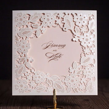 Laser Cut Invitations Cards Beautiful Floral Design 100PCS