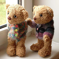 "E-Pattern of  artist teddy bears Cody & Colin 9,5 "" in PDF format, OOAK,  beige, amber,  mohair,  jointed"