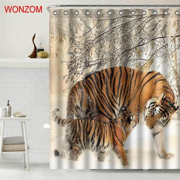 WONZOM Tiger Polyester Fabric Bear Shower Curtain Bathroom Decor Dolphin Waterproof Animal Cortina De Bano With 12 Hooks 2017