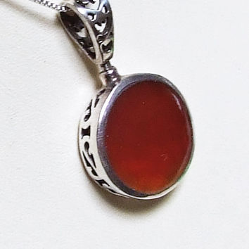 Vintage Carnelian Sterling Silver Pendant, Red Orange Carnelian Slice, Chalcedony Necklace, Lacy Back, Rotating Bail, 925 Sterling Silver
