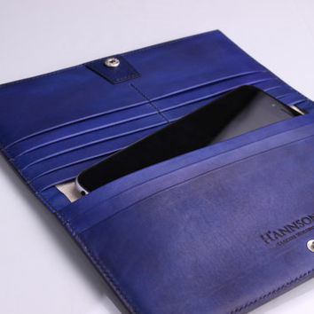 Handmade Hand Stitched leather wallet for mens womens No.2 - Full Grain Vegetable Tanned -  Black & Blue