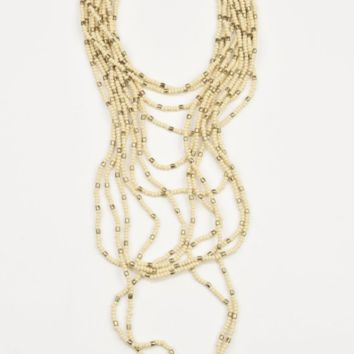 Ink + Alloy | IVORY AND GOLD MULTI-STRAND BEAD NECKLACE