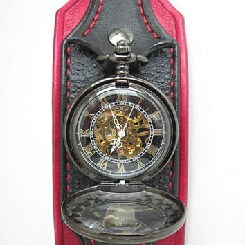 Steampunk Pocket Watch, Wrist Watch, Black And Red