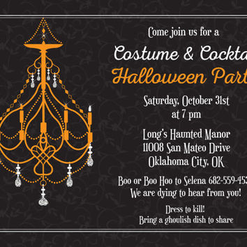 Chandelier Halloween Invitation • Costume Halloween Party Invitations • Printable Adult Halloween Invite