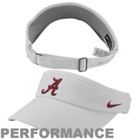 University of Alabama hats : Nike Alabama Crimson Tide Sideline Dri-FIT Adjustable Performance Visor - White
