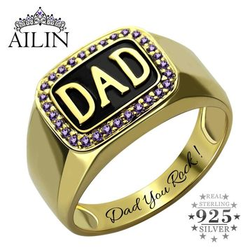Men's Birthstone Accent DAD Ring Gold Color  Handmade Birthstone Ring for Dad Father's Day Gift