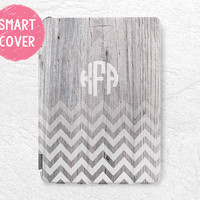 Personalized iPad Smart Cover, Monogram Chevron wood print custom initial name case for iPad Air, iPad Air 2