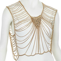 Leaf Drape Body Chain - Gold